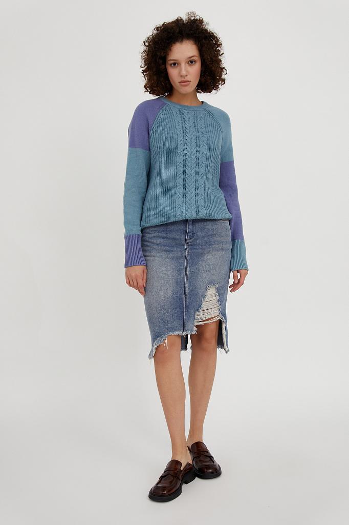 Фото 3 - джемпер женский светло-бирюзового цвета