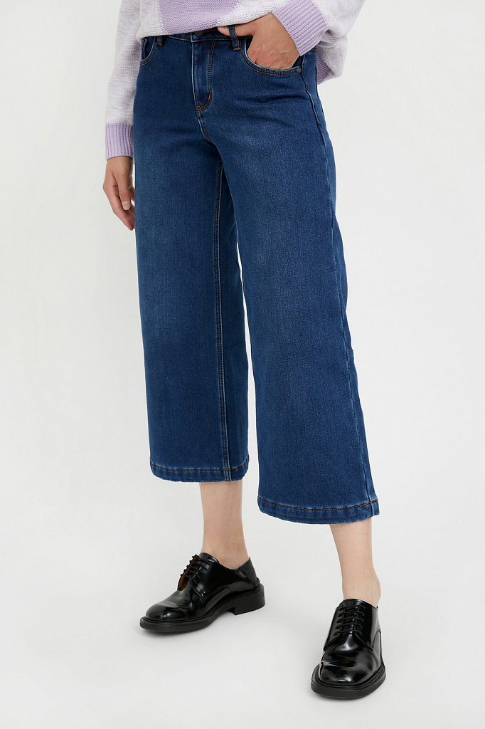 Фото 2 - брюки женские (джинсы) темно-синего цвета
