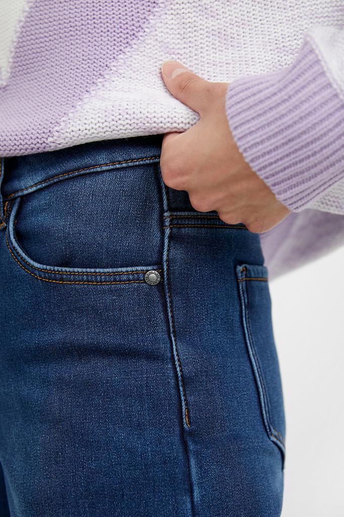 Фото 5 - брюки женские (джинсы) темно-синего цвета