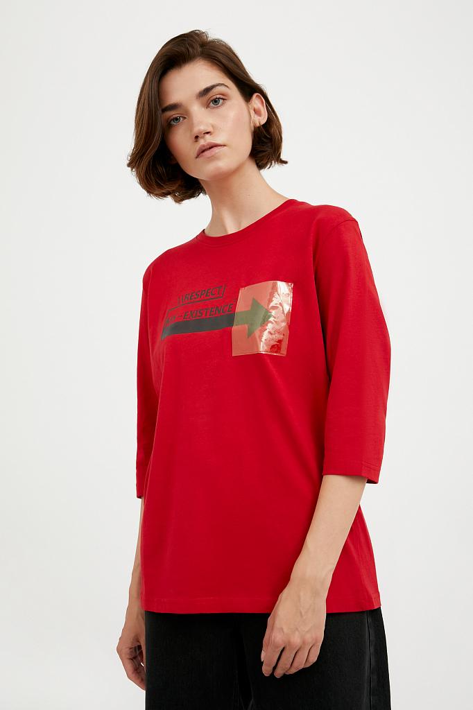 Фото 3 - футболка женская красного цвета