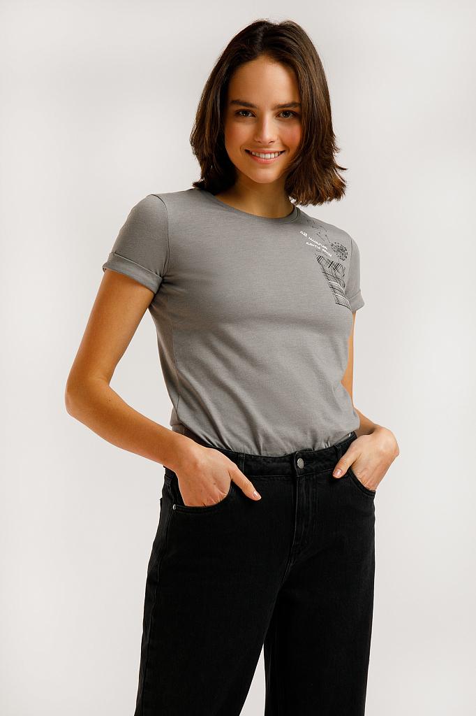 футболка женская Finn-Flare цвета серый меланж