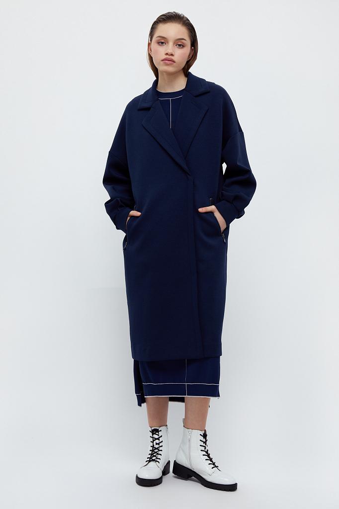 пальто женское Finn-Flare темно-синего цвета