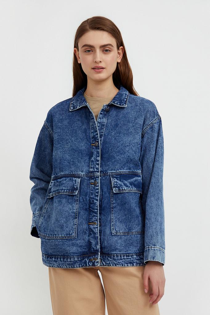 джинсовая куртка с накладными карманами