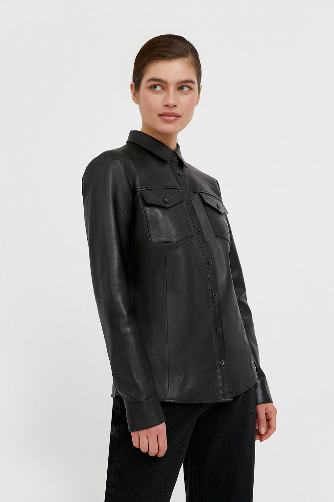 рубашка женская Finn-Flare черного цвета