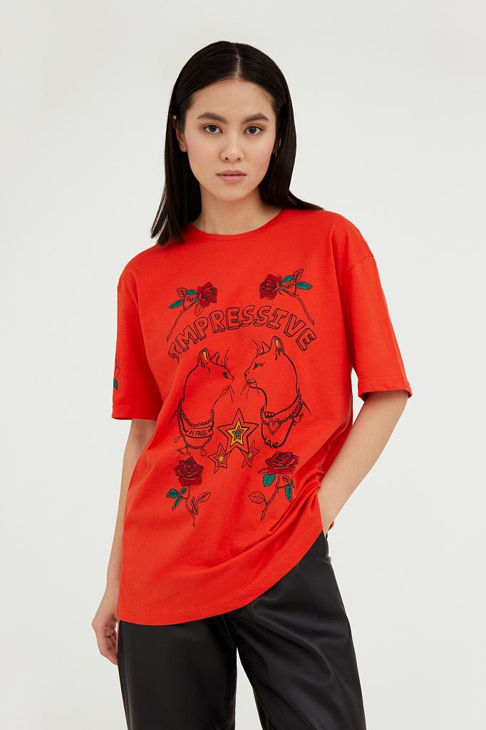 Фото 2 - футболка женская красного цвета