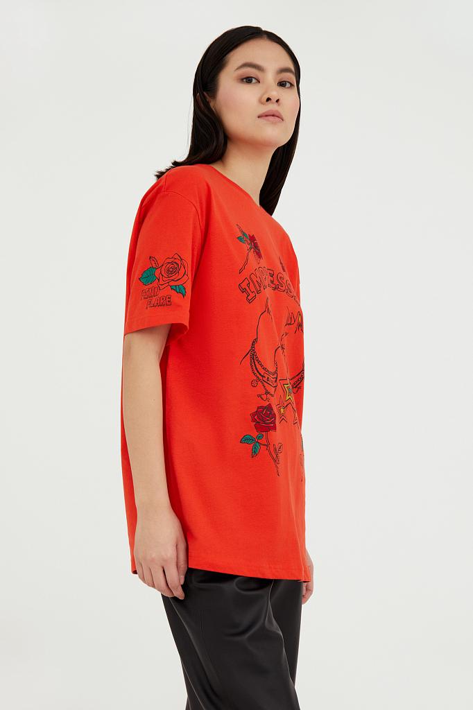 Фото 4 - футболка женская красного цвета