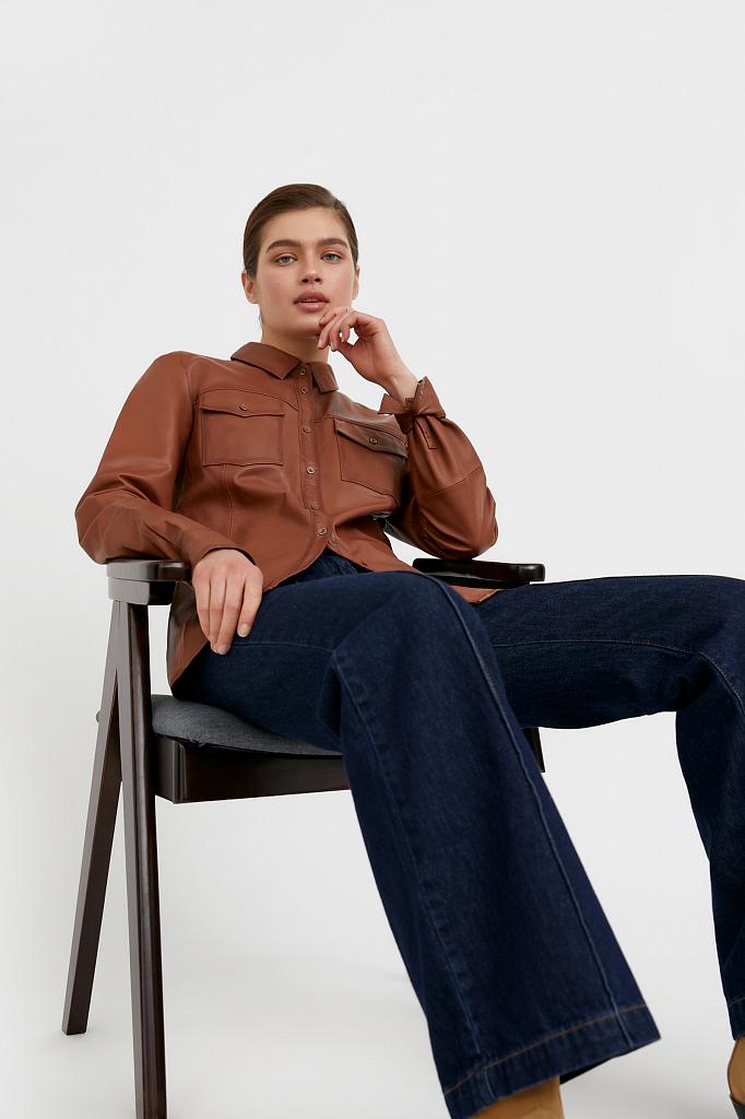 рубашка (верхняя сорочка) женская Finn-Flare цвет корица