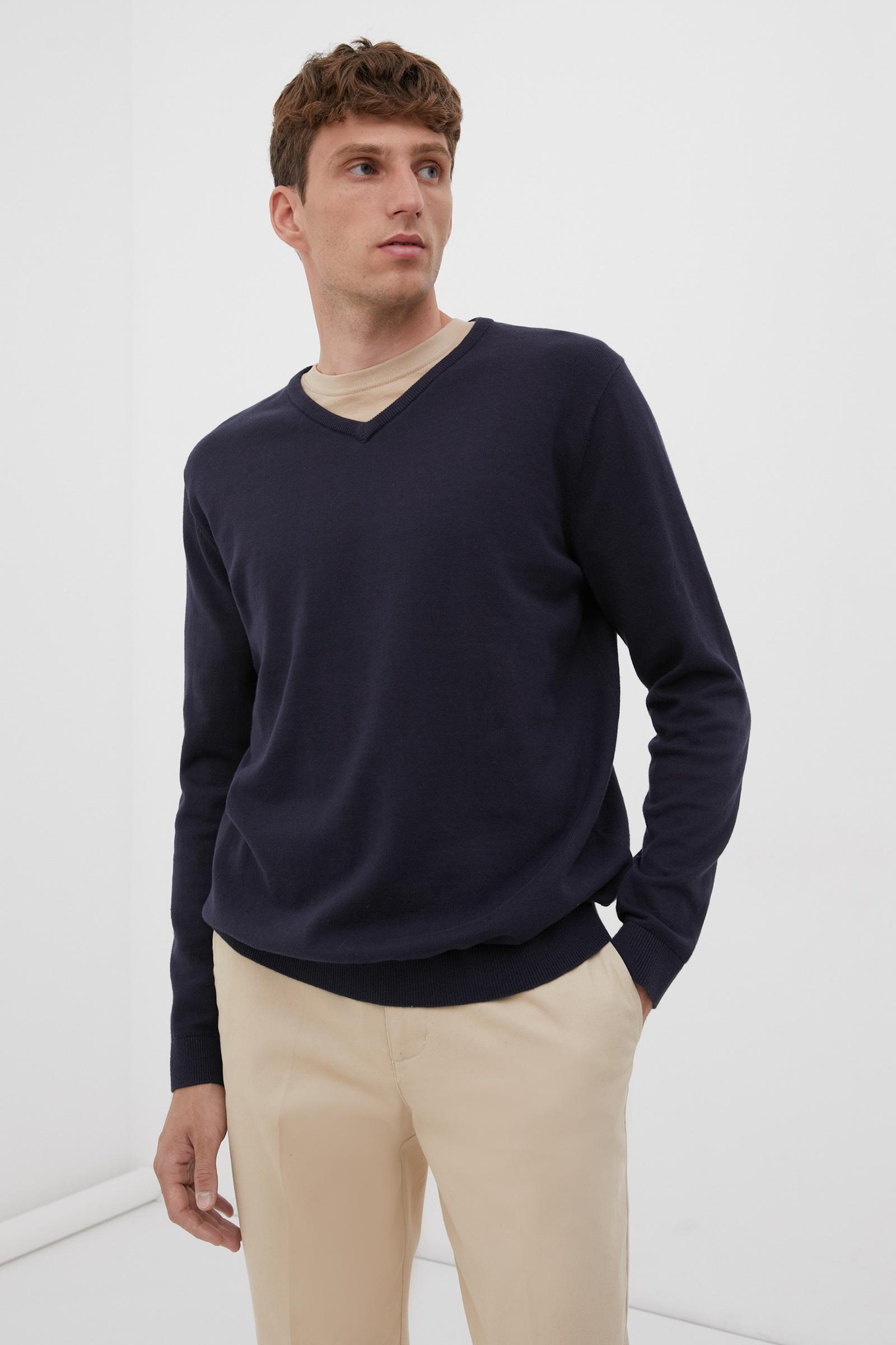 базовый мужской пуловер прямого силуэта