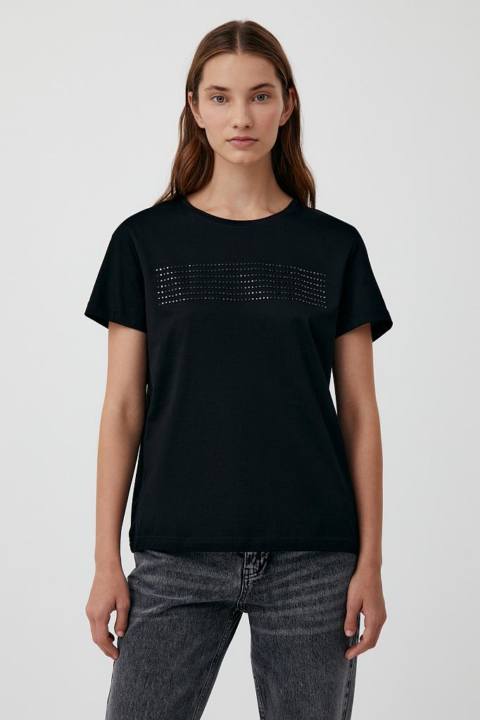 женская футболка из хлопка с декоративной отделкой Finn-Flare