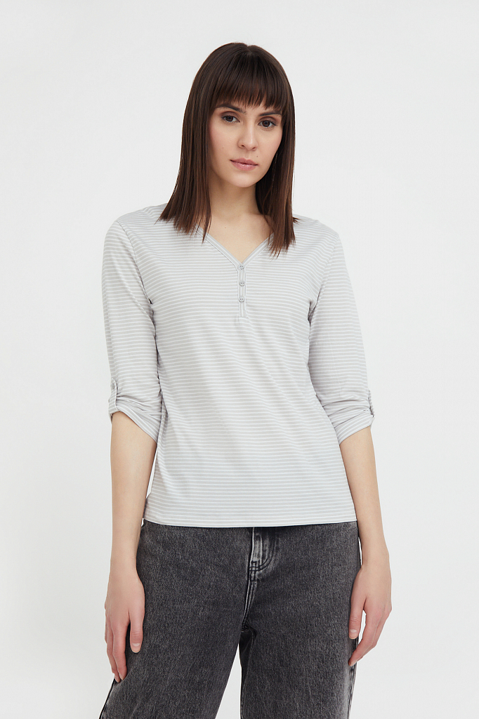 футболка женская Finn-Flare светло-серого цвета