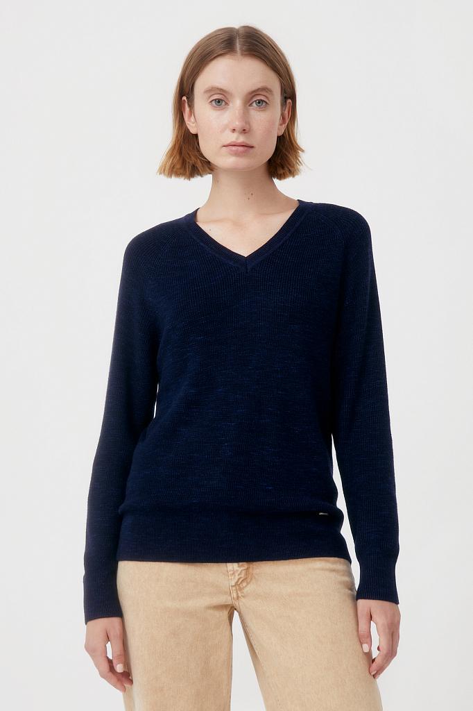 женский базовый пуловер прямого силуэта с шерстью