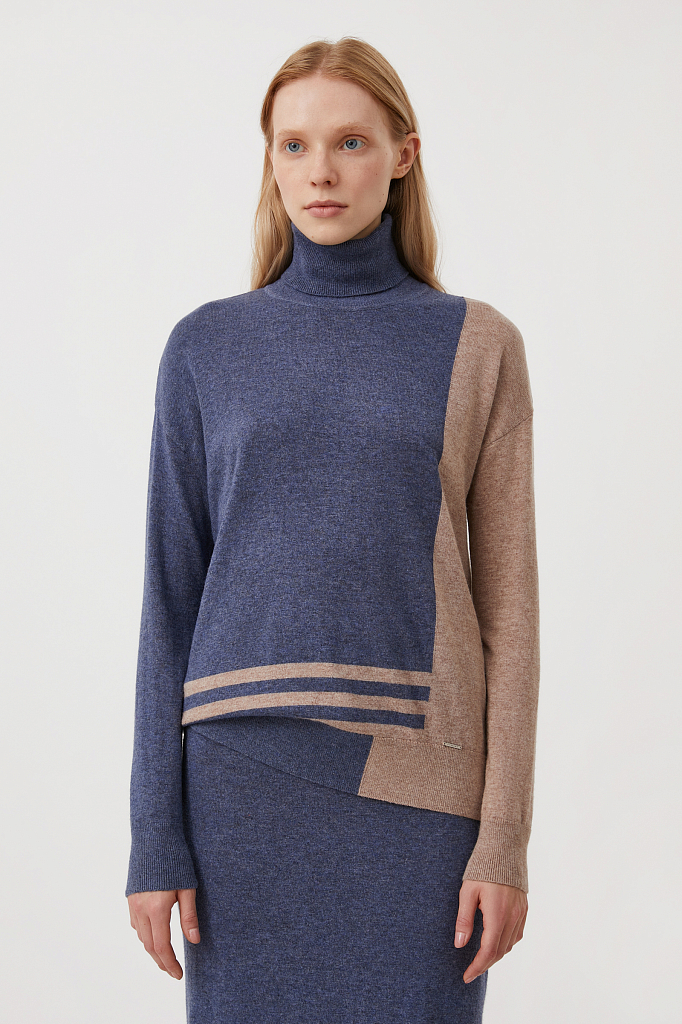 женский свитер прямого кроя с шерстью