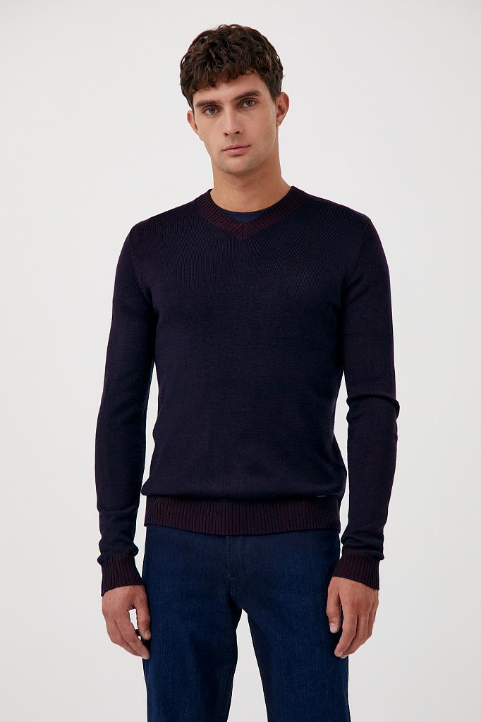 пуловер мужской прямого силуэта с шерстью