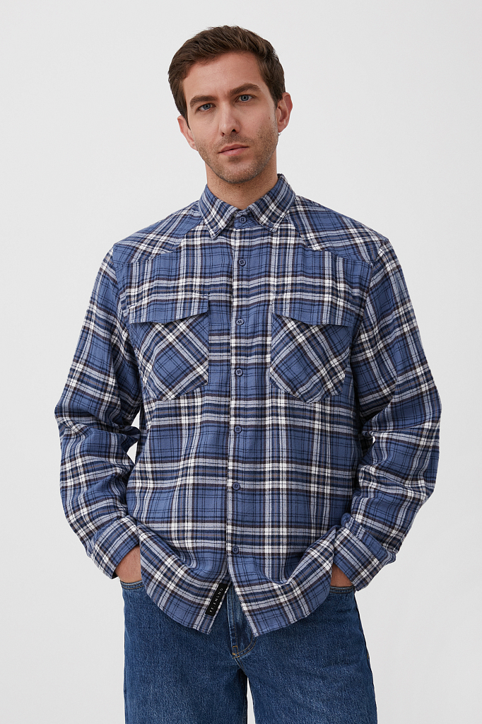 базовая мужская рубашка в крупную клетку оверсайз