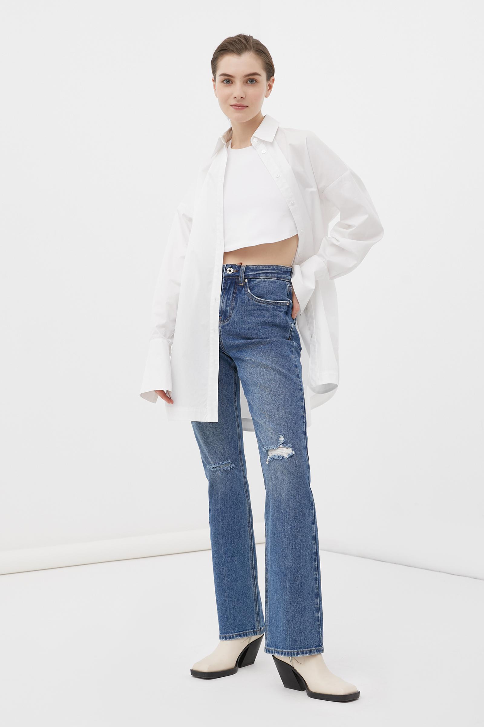 джинсы клеш на средней посадке