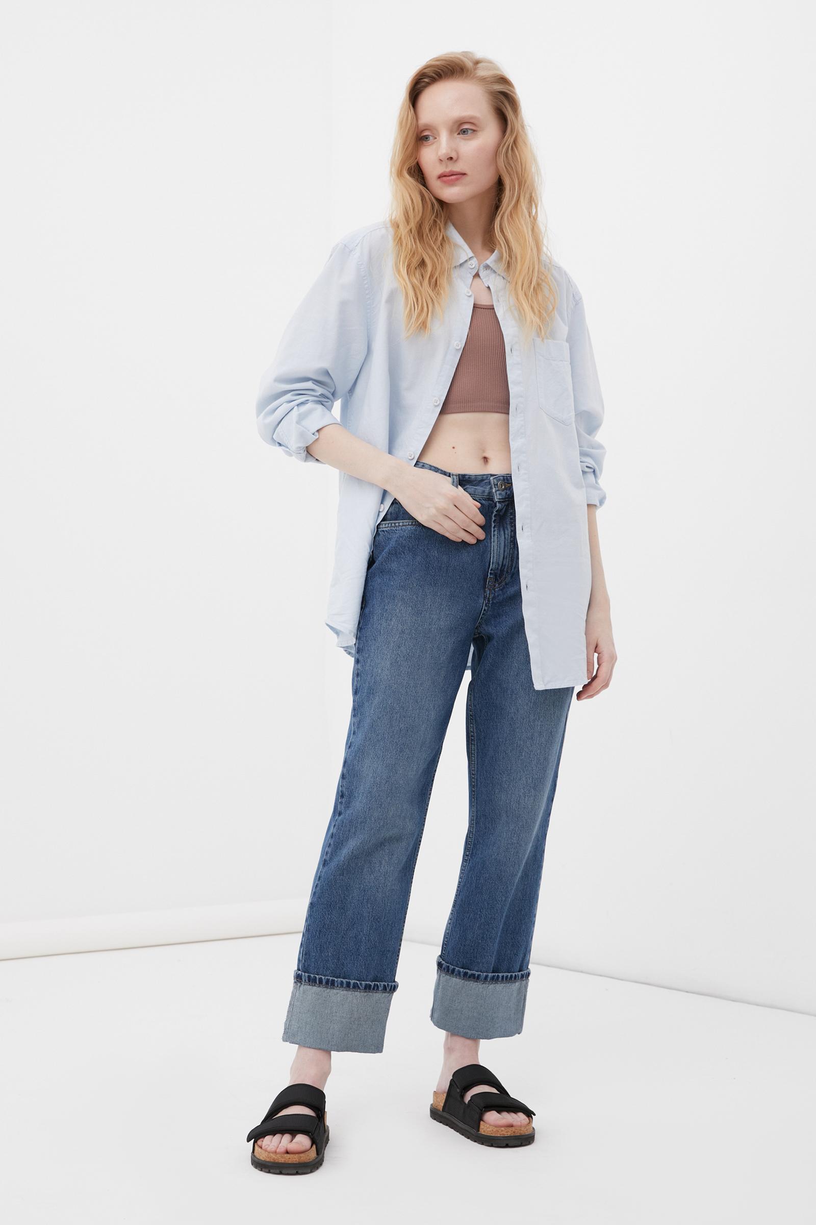женские прямые джинсы straight fit с подворотами