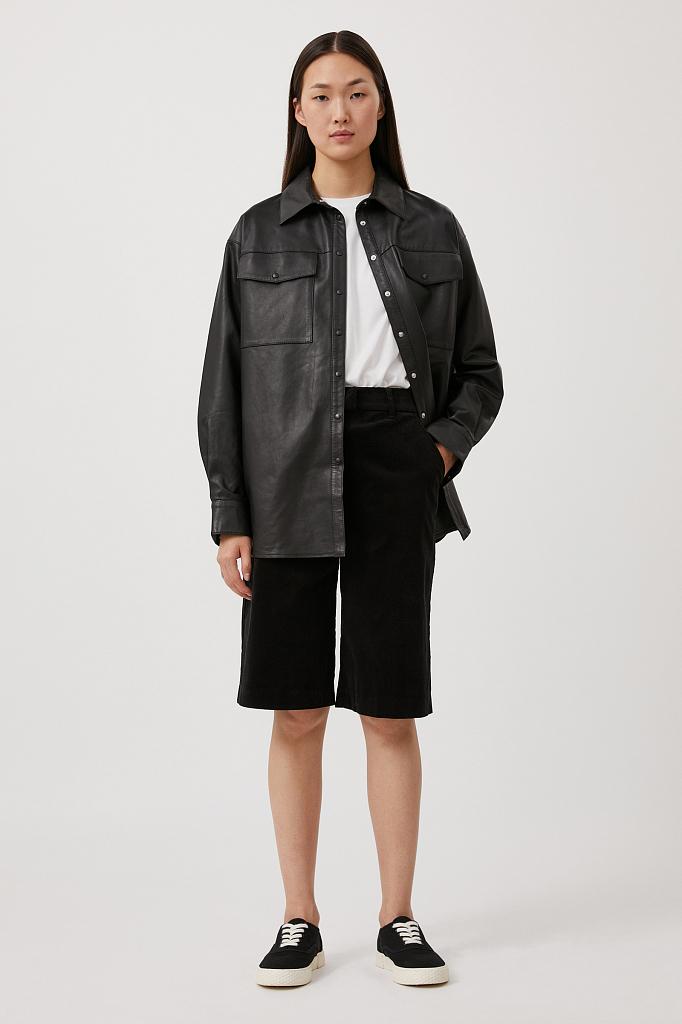 шорты женские прямого кроя из вельвета Finn-Flare черного цвета