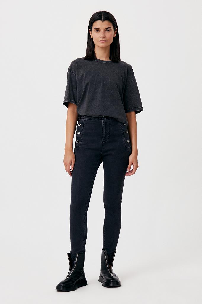 женские джинсы slim fit с карманами на пуговицах