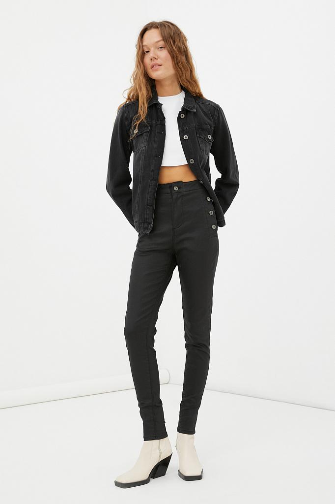 джинсы slim fit женские с карманами на пуговицах