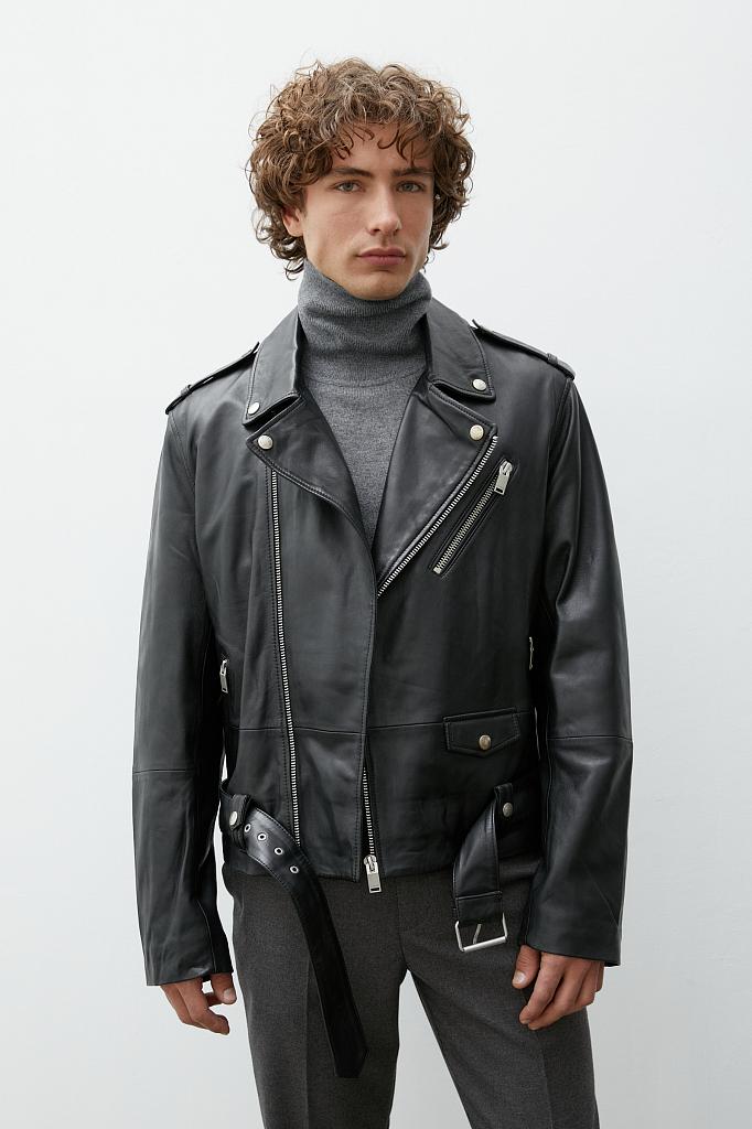 кожаная мужская куртка-косуха свободного кроя