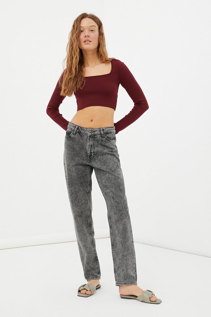 женские джинсы tapered fit на средней посадке