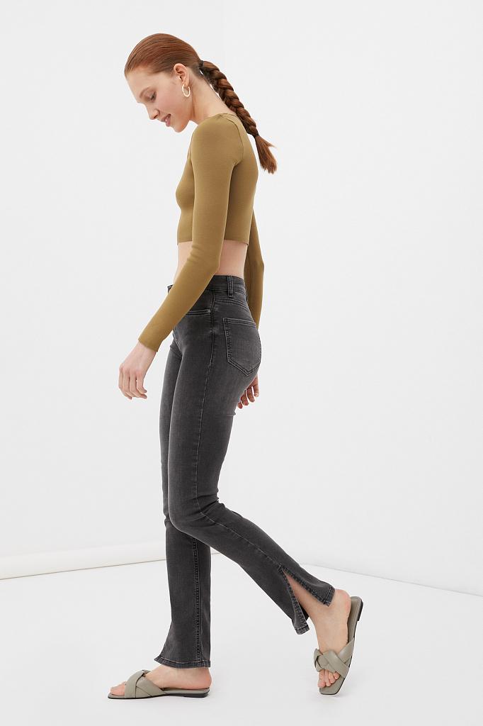 женские джинсы straight fit с разрезами по бокам