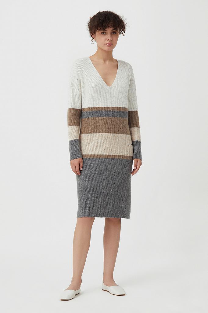 платье прямого кроя с шерстью и принтом в полоску Finn-Flare