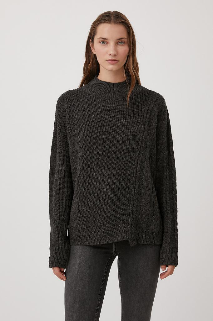 свитер женский оверсайз с шерстью и отделкой сбоку