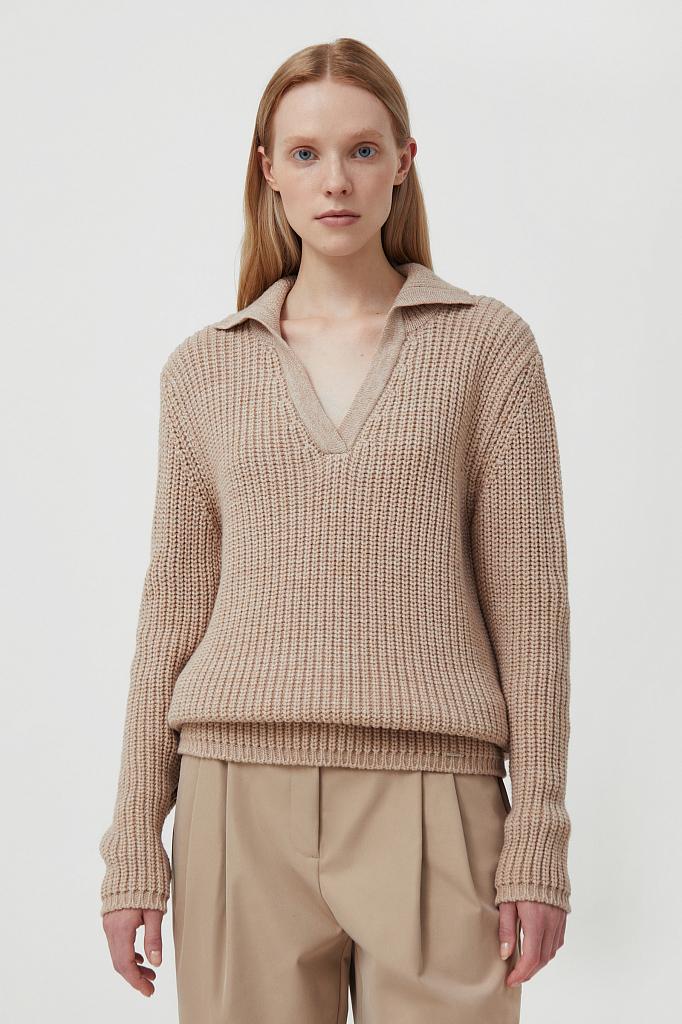 женский джемпер крупной вязки оверсайз с шерстью