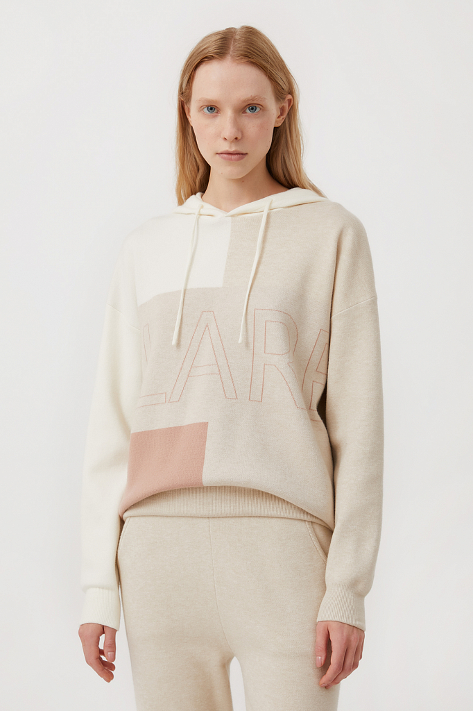 свободное женское худи в стиле color block Finn-Flare молочного цвета