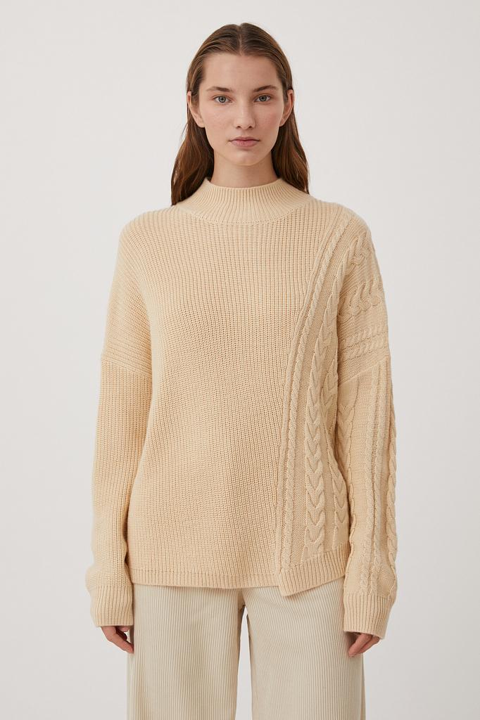 свитер женский оверсайз с шерстью и отделкой сбоку Finn-Flare цвет песочный