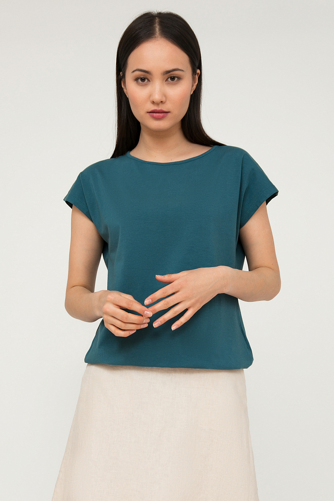 Блузка женская, цвет деним , артикул: S20-11095_2202. Купить в интернет-магазине FiNN FLARE