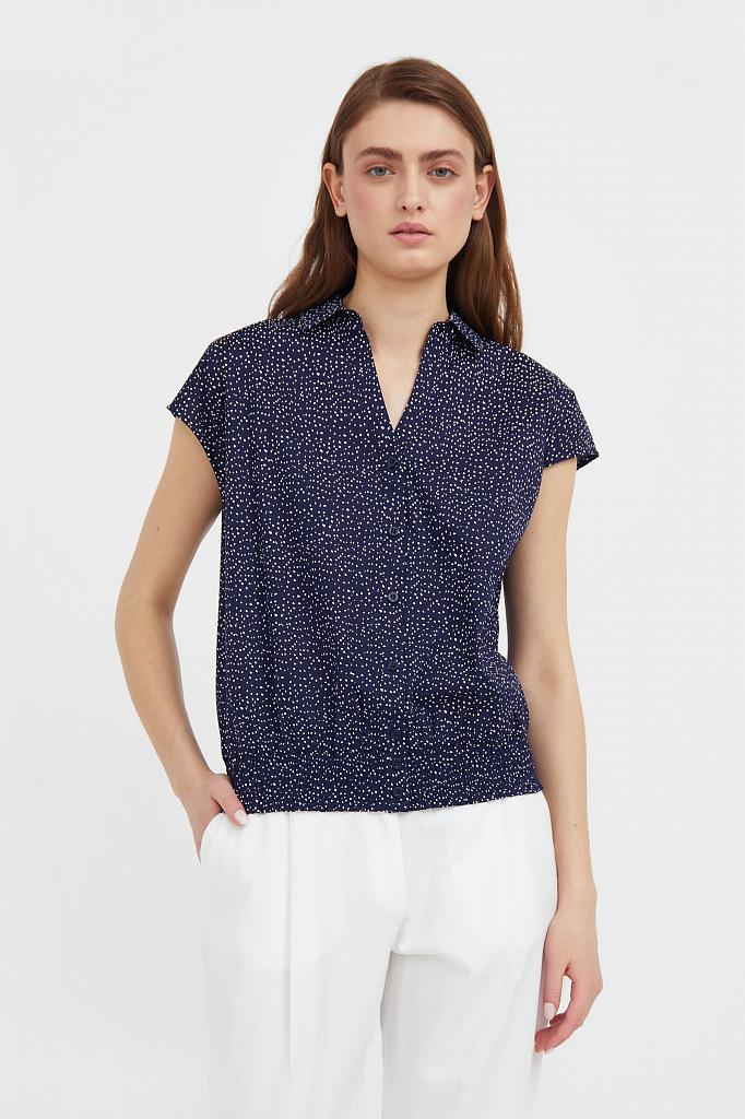 хлопковая блузка с пестрым принтом