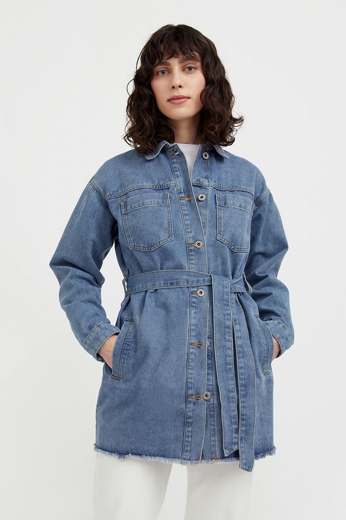 джинсовая куртка-рубашка с поясом