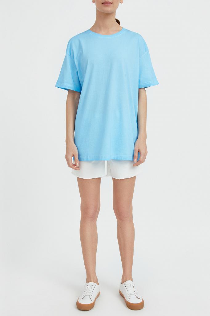 Фото 2 - футболка женская голубого цвета