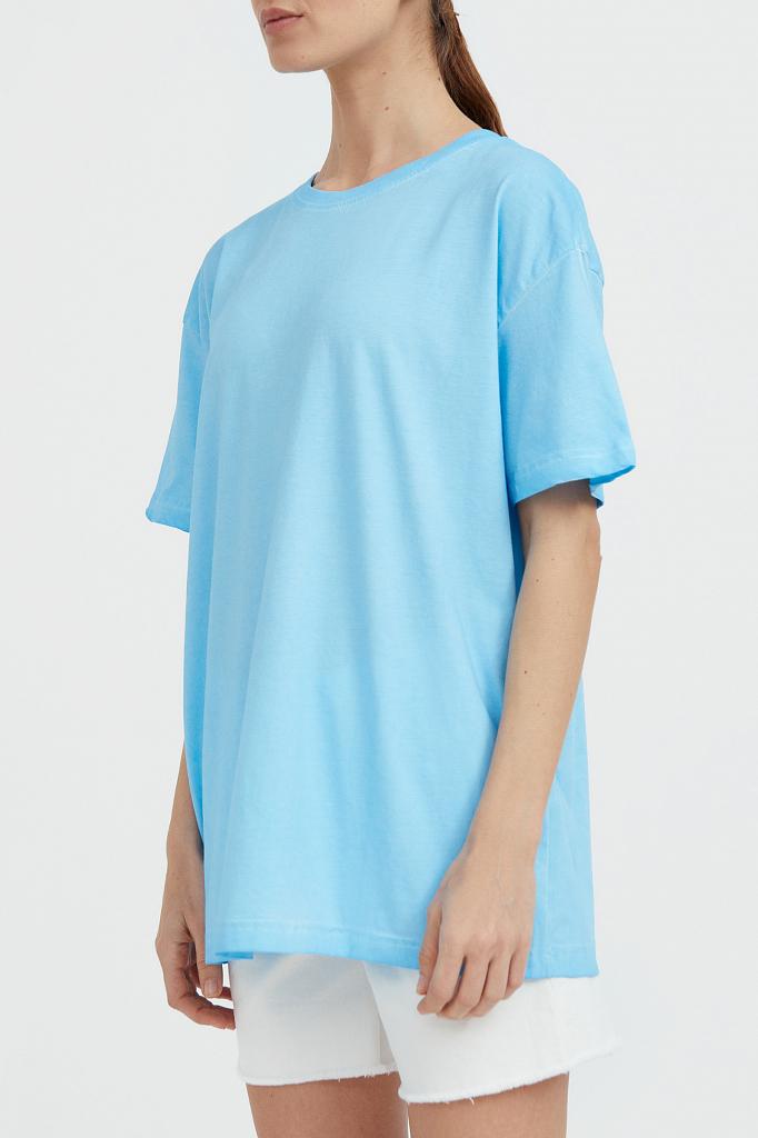 Фото 3 - футболка женская голубого цвета