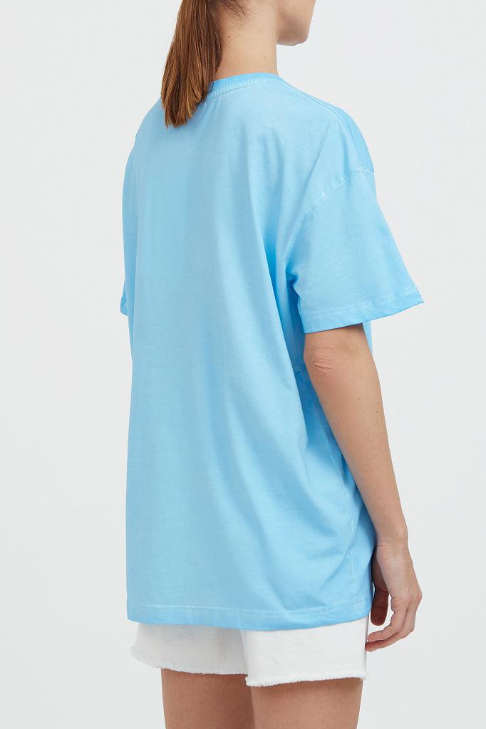 Фото 4 - футболка женская голубого цвета