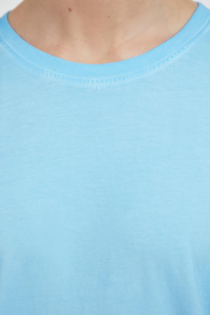 Фото 5 - футболка женская голубого цвета