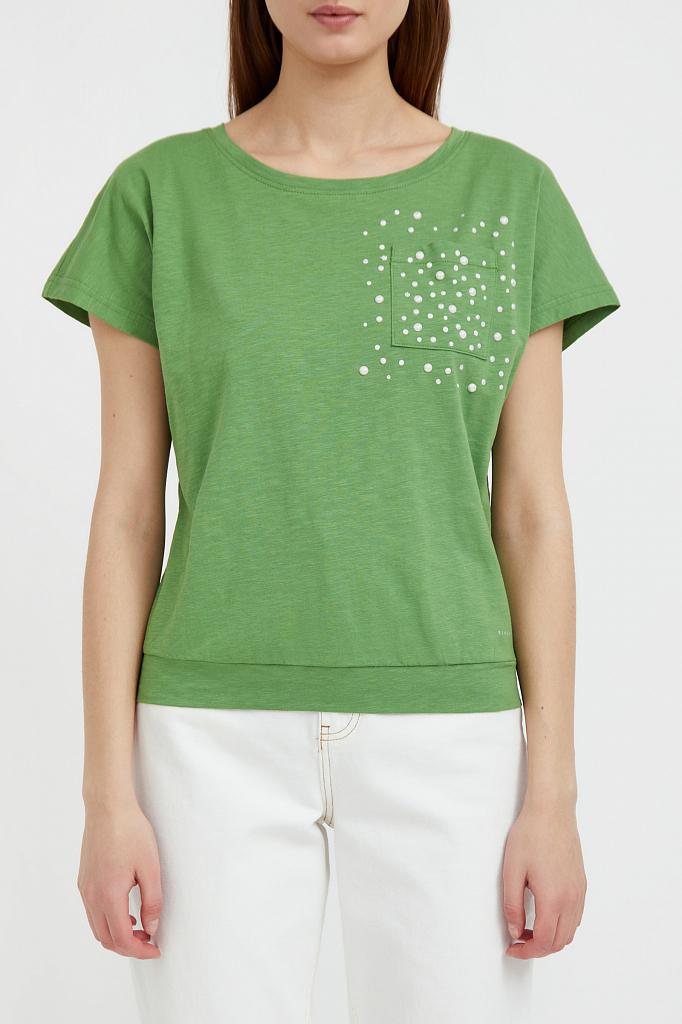 футболка женская Finn-Flare зеленого цвета