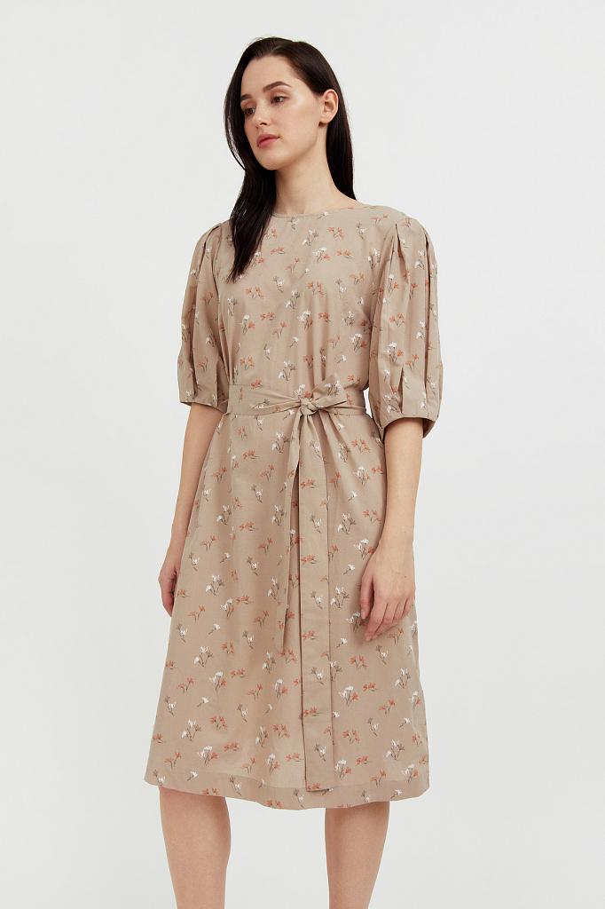 хлопковое платье с поясом