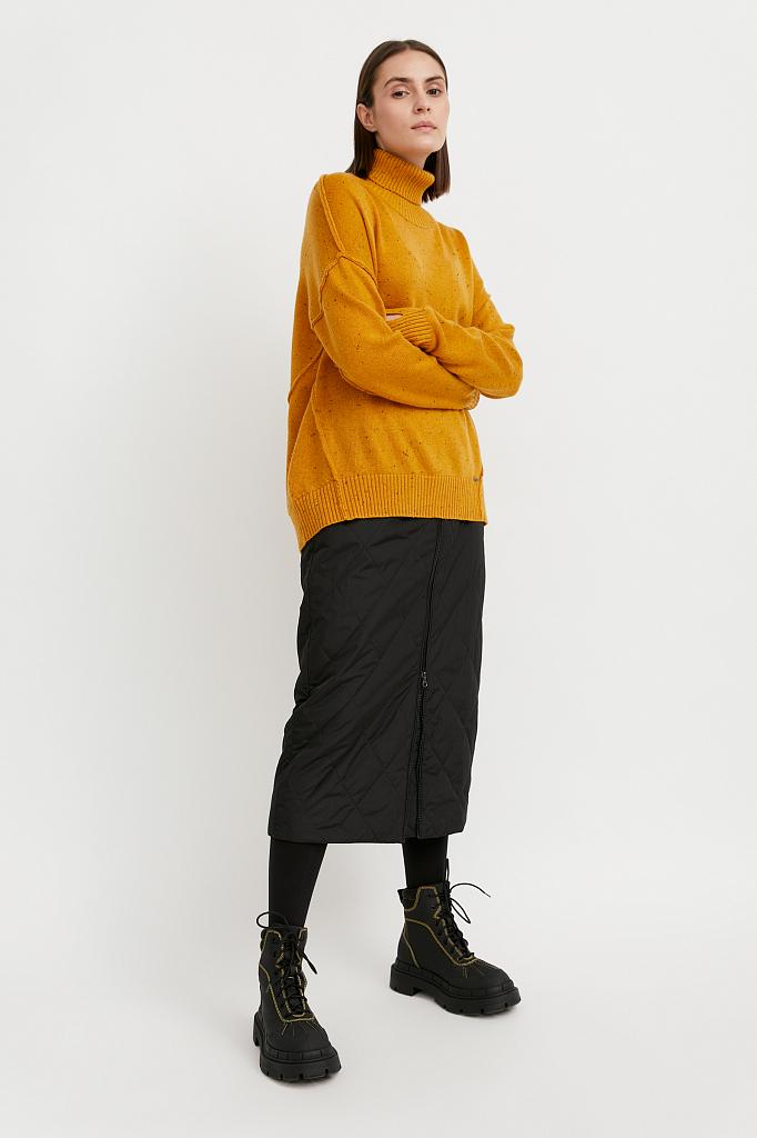 свитер женский оверсайз с шерстью Finn-Flare желтого цвета