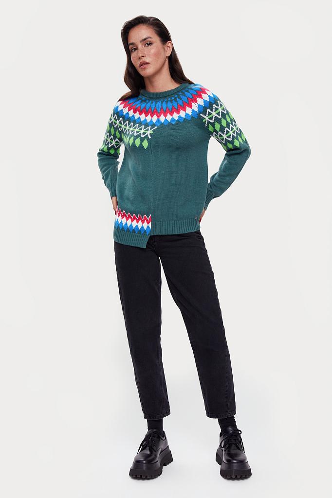 Фото 3 - джемпер женский темно-зеленого цвета