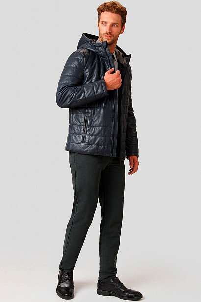 Кожаная куртка мужская, Модель A18-21801, Фото №2