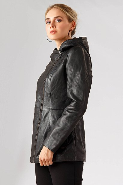 Кожаная куртка женская, Модель A18-11801, Фото №1