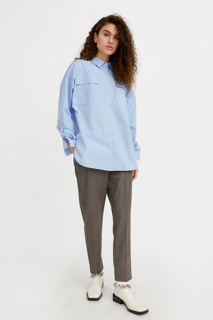 Классическая женская блузка оверсайз из хлопка, Модель A20-11095, Фото №1