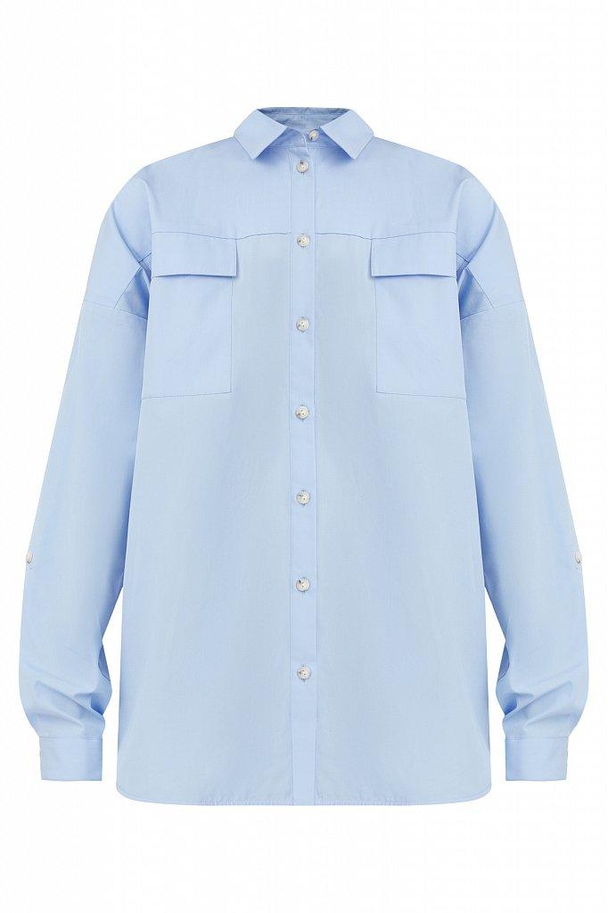 Классическая женская блузка оверсайз из хлопка, Модель A20-11095, Фото №7