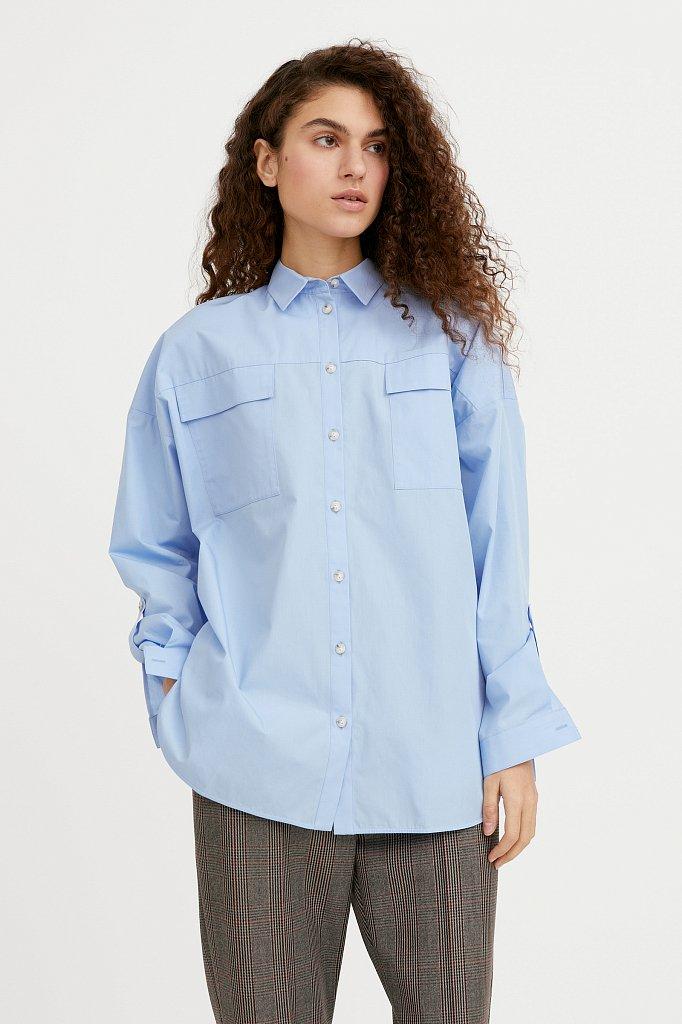 Классическая женская блузка оверсайз из хлопка, Модель A20-11095, Фото №2