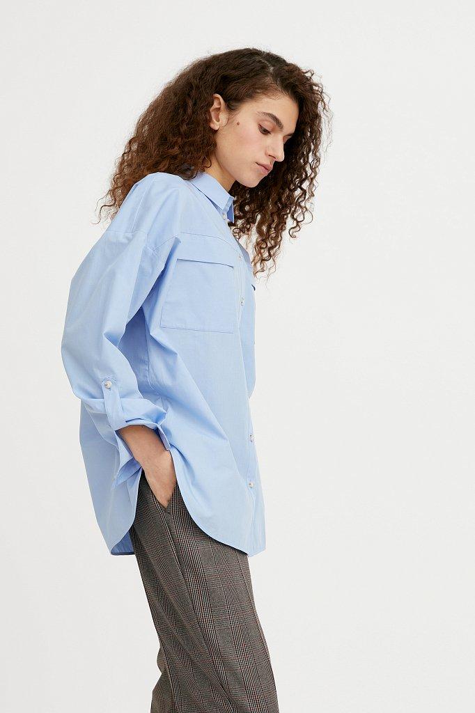 Классическая женская блузка оверсайз из хлопка, Модель A20-11095, Фото №3