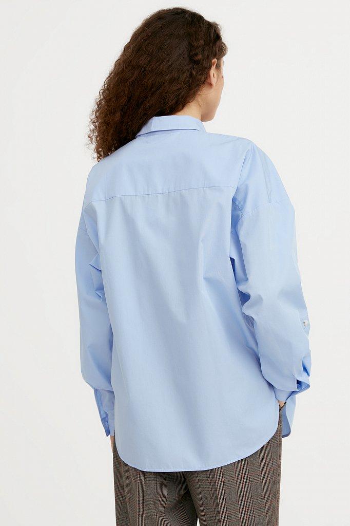 Классическая женская блузка оверсайз из хлопка, Модель A20-11095, Фото №4