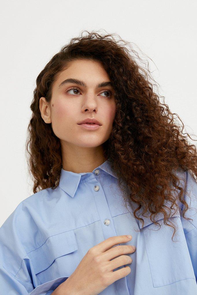 Классическая женская блузка оверсайз из хлопка, Модель A20-11095, Фото №5